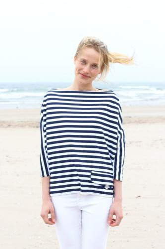 Navy & White Stripe Boxy Top