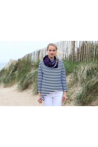 Navy & White Stripe Asymmetrical Top